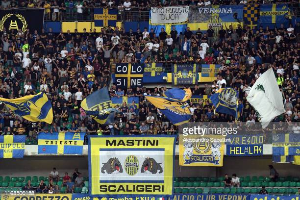 Hellas Verona fans during the Serie A match between Hellas Verona and AC Milan at Stadio Marcantonio Bentegodi on September 15 2019 in Verona Italy