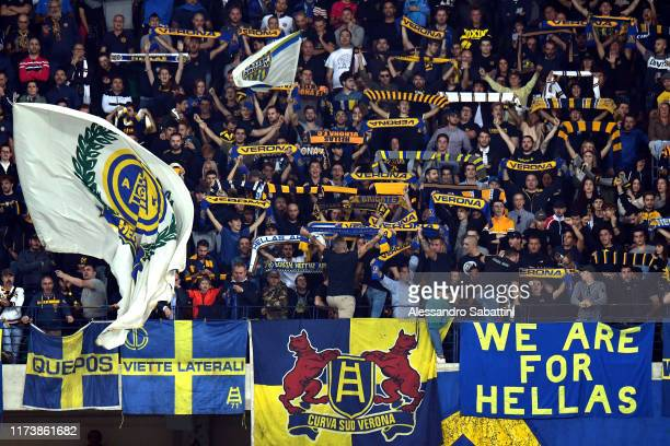 Hellas Verona fans during the Serie A match between Hellas Verona and UC Sampdoria at Stadio Marcantonio Bentegodi on October 5 2019 in Verona Italy