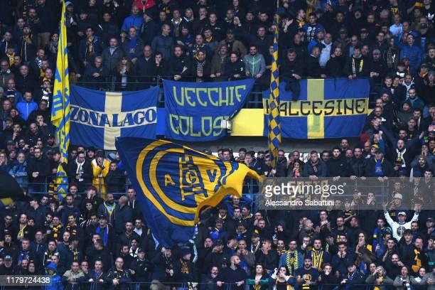 Hellas Verona fans during the Serie A match between Hellas Verona and Brescia Calcio at Stadio Marcantonio Bentegodi on November 3 2019 in Verona...