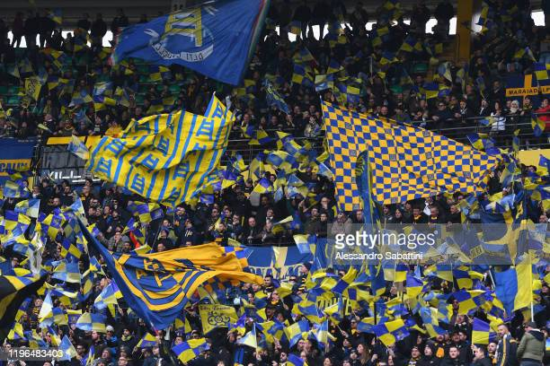 Hellas Verona fans show their support during the Serie A match between Hellas Verona and US Lecce at Stadio Marcantonio Bentegodi on January 26 2020...