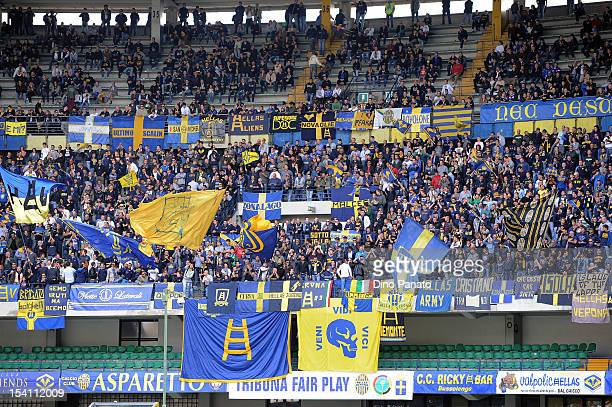 Hellas Verona fans show their support during the Serie B match between Hellas Verona FC and US Grosseto at Stadio Marc'Antonio Bentegodi on October...