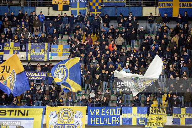 Hellas Verona fans shows their support during the Serie A match between Hellas Verona FC and Atalanta BC at Stadio Marc'Antonio Bentegodi on February...
