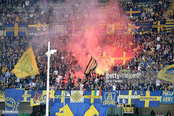 Hellas Verona fans shows their support during the Serie A match between Hellas Verona FC and Juventus FC at Stadio Marc'Antonio Bentegodi on May 8...
