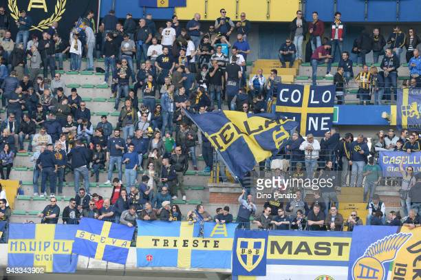 Hellas Verona fans shows their support during the serie A match between Hellas Verona FC and Cagliari Calcio at Stadio Marc'Antonio Bentegodi on...