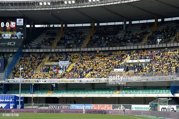 Hellas Verona fans shows their support in family tribune during the Serie A match between Hellas Verona FC and Carpi FC at Stadio Marc'Antonio...