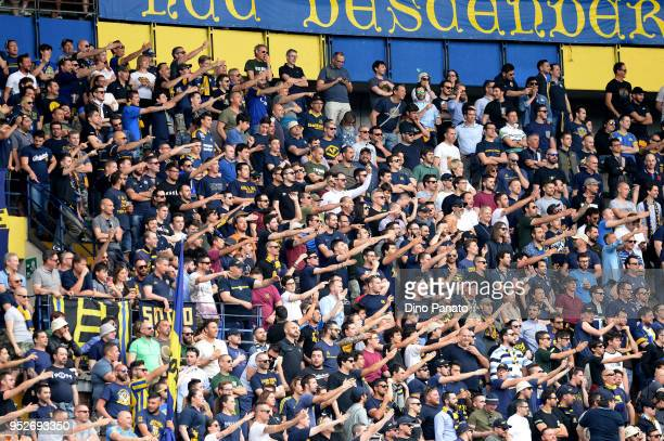 Hellas Verona fans shows thier support during the serie A match between Hellas Verona FC and Spal at Stadio Marc'Antonio Bentegodi on April 29 2018...