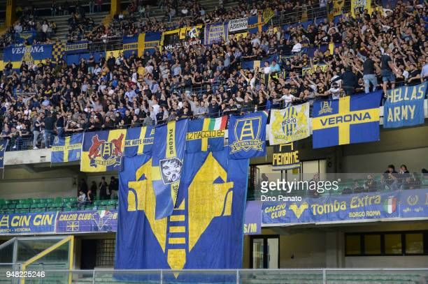 Hellas Verona fans shows yheir support during the serie A match between Hellas Verona FC and US Sassuolo at Stadio Marc'Antonio Bentegodi on April 18...