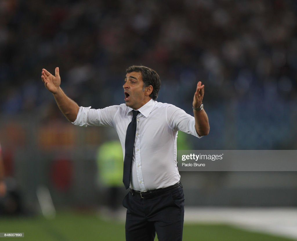 Hellas Verona FC head coach Fabio Pecchia reacts during the Serie A match between AS Roma and Hellas Verona FC at Stadio Olimpico on September 16, 2017 in Rome, Italy.