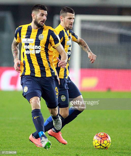 Hellas Verona's defender Eros Pisano and Hellas Verona's midfielder Pawel Wszolek during the Italian Serie A football match between Hellas Verona FC...
