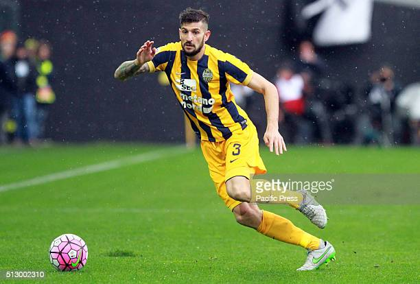 Hellas Verona's defender Eros Pisano runs with the ball during the Italian Serie A football match between Udinese Calcio v Hellas Verona FC Udinese...