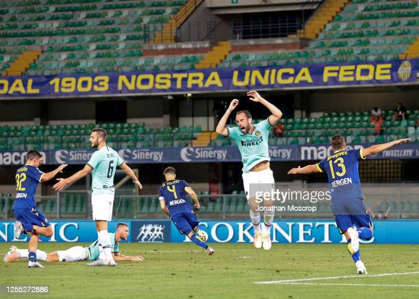 Hellas Verona's Portuguese midfielder Miguel Veloso runs off to celebrate after scoring to level the game at 22 during the Serie A match between...