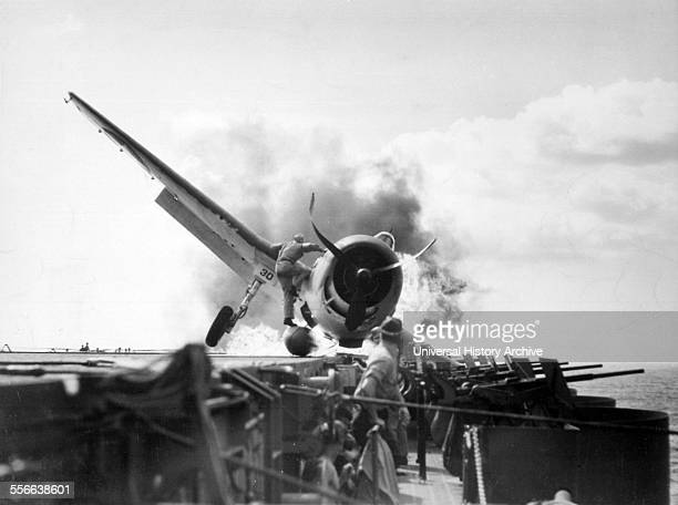 F6F Hellcat crash landed on USS Enterprise's flight deck World War Two