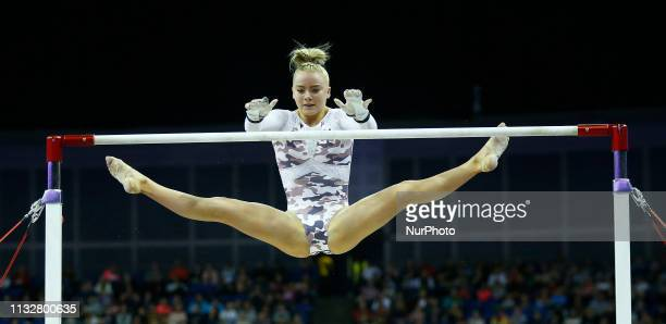 Helle Hilton of Great Britain Argentina of Performing Women's Uneven Bars during The Superstars of Gymnastics at 02 Arena London England on 23 Mar...