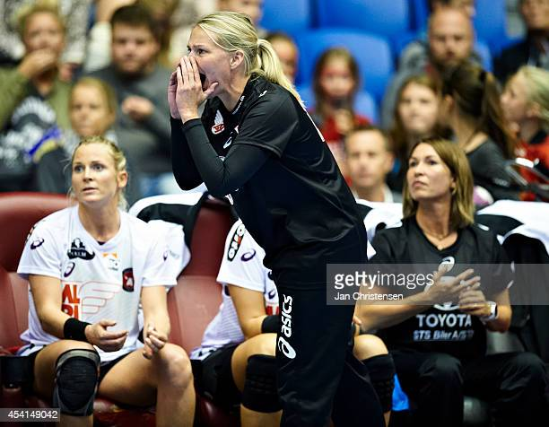Helle Thomsen head coach of FC Midtjylland giving instructions during the Super Cup Final between Viborg HK and FC Midtjylland in Gigantium on August...