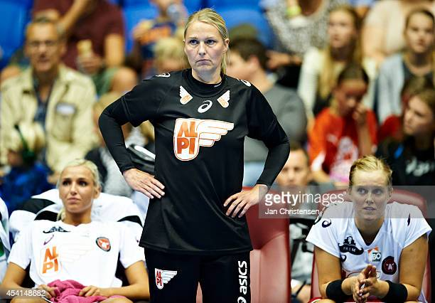 Helle Thomsen head coach of FC Midtjylland looks on during the Super Cup Final between Viborg HK and FC Midtjylland in Gigantium on August 22 2014 in...