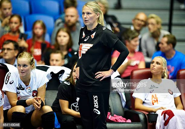 Helle Thomsen looks on during the Super Cup Final between Viborg HK and FC Midtjylland in Gigantium on August 22 2014 in Aalborg Denmark