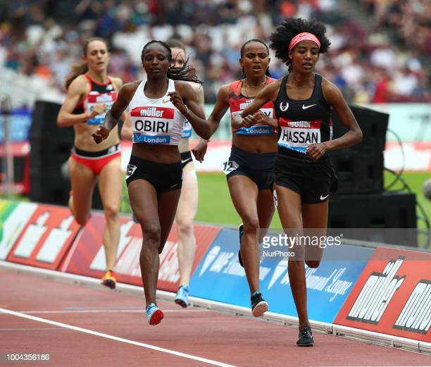 LR Hellen Obiri of Kenya and Sifan Hassan of Netherlands Compete in the 1 Mile Women Millicent Fawcett during the Muller Anniversary Games IAAF...