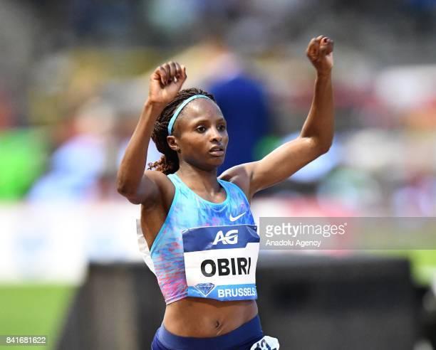 Hellen Obiri of Kenya celebrates her victory in the Women's 5000 metres during the IAAF Diamond League Memorial Van Damme at King Baudouin Stadium in...