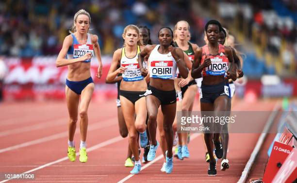 Hellen Obiri of Kenya competes in the 3000m Women's Race uring the IAAF Diamond League 2018 Muller Grand Prix at the Alexander Stadium on August 18...