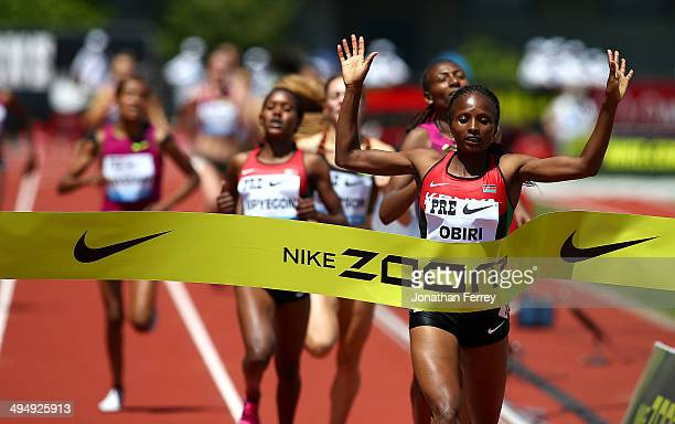 Hellen Obiri of Kenya wins the 1500m during day 2 of the IAAF Diamond League Nike Prefontaine Classic on May 31 2014 at the Hayward Field in Eugene...