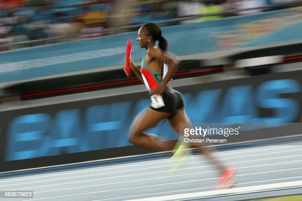 Hellen Onsando Obiri of Kenya competes in win the Women's 4x1500 metres relay during day one of the IAAF World Relays at the Thomas Robinson Stadium...