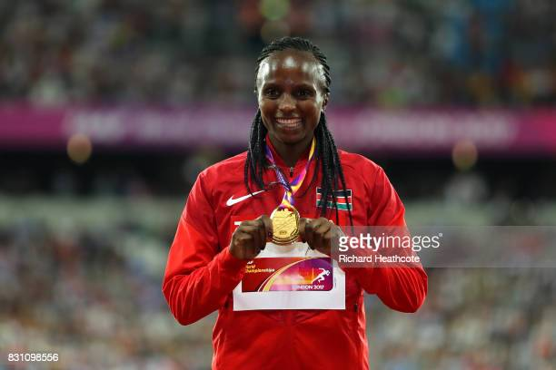 Hellen Onsando Obiri of Kenya gold poses with her medal for the Women's 5000 Metres final during day ten of the 16th IAAF World Athletics...