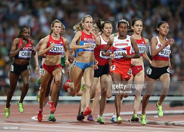 Hellen Onsando Obiri of Kenya, Morgan Uceny of the United States, Ekaterina Kostetskaya of Russia, Maryam Yusuf Jamal of Bahrain and Gamze Bulut of...