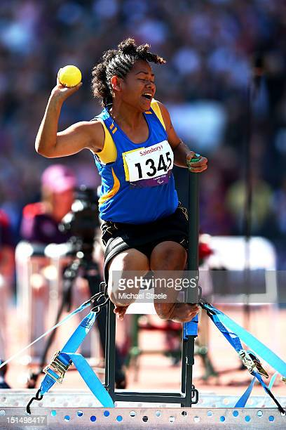 Hellen Saohaga of the Solomon Islands competes in the Women's Shot Put — F57/58 final on day 10 of the London 2012 Paralympic Games at Olympic...