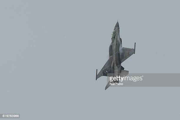 A Hellenic Air Force F16 takes part at the annual military parade in the northern Greek port city of Thessaloniki Oct 28 2016 The parade is held to...