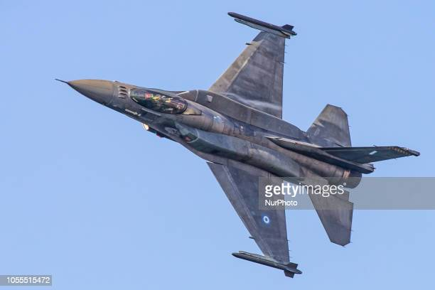 A Hellenic Air Force F16C Block 52 in demonstration flying over Thessaloniki by captain Giorgos Papadakis during the military parade on 28th of...