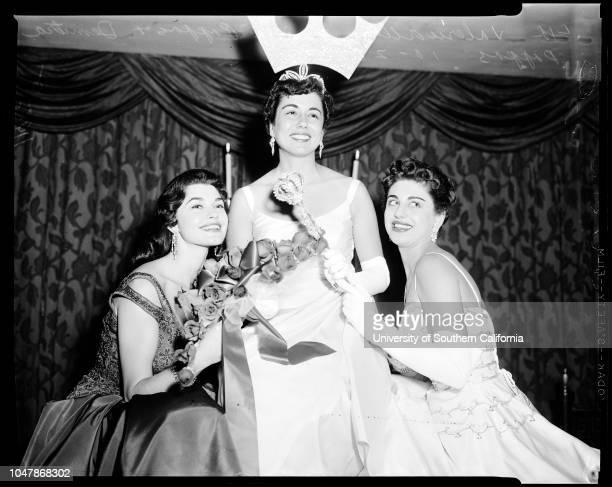 HellenicAmerican community of LA 28 October 1956 Miss Tiana Pappas Valerie AllenDemetra PappasCaption slip reads 'Photographer Paegel Date Reporter...