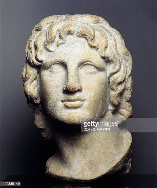 Hellenistic art 2nd1st century bC Marble head of Alexander the Great height 37 cm Probably from Alexandria Egypt
