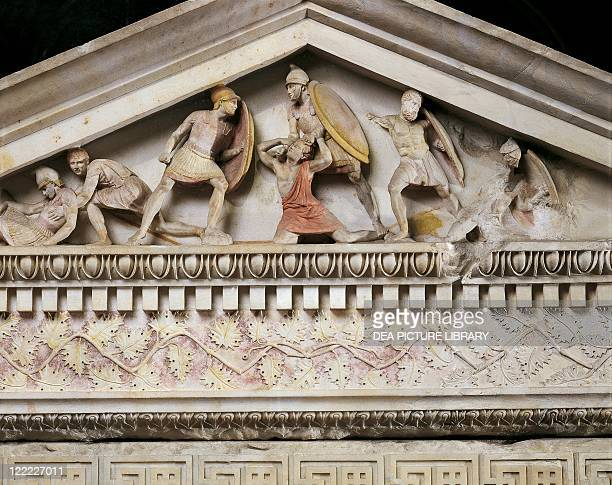 Hellenistic art 4th century bC Alexander sarcophagus marble from the royal necropolis of Sidon Lebanon Detail