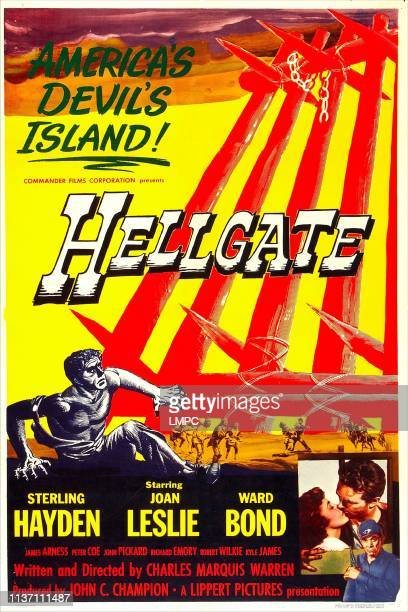 Hellgate poster US poster bottom inset from left Joan Leslie Sterling Hayden 1952