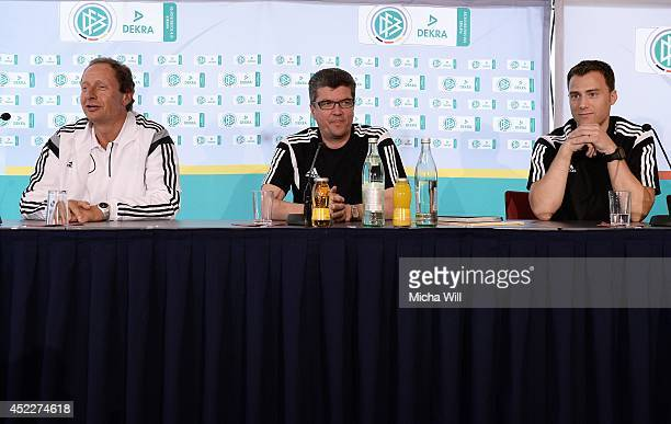 Hellmut Krug representative of the DFL chairman of the DFBRefereeCommitteee Herbert Fandel and DFB Referee Felix Zwayer attend a press conference at...