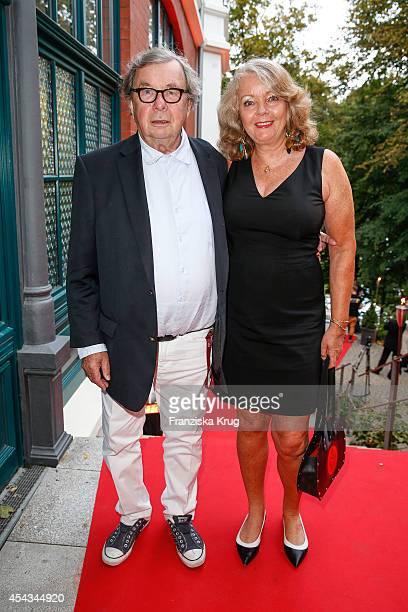 Hellmuth Karasek and Armagrd SeegersKarasek attend the 'Nacht der Medien' on August 29 2014 in Hamburg Germany