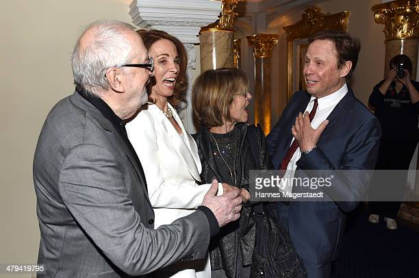 Hellmuth Matiasek Ingrid Kraus Cornelia Froboess and Peter Kraus attend the Peter Kraus 75th Birthday party at Suedtiroler Stuben on March 18 2014 in...