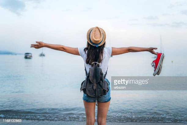 hello beach holiday - arms outstretched stock pictures, royalty-free photos & images