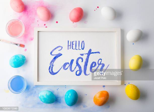 hello easter flat lay on a white background. - christmas background stock photos and pictures