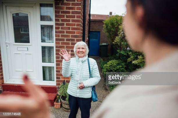 hello grandma - waving stock pictures, royalty-free photos & images