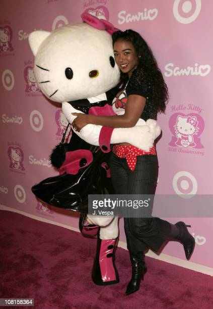 Hello Kitty and Ananda Lewis during 30th Anniversary Party for Hello Kitty Presented by SANRIO and Target Pink Carpet at Raleigh Studios in Hollywood...