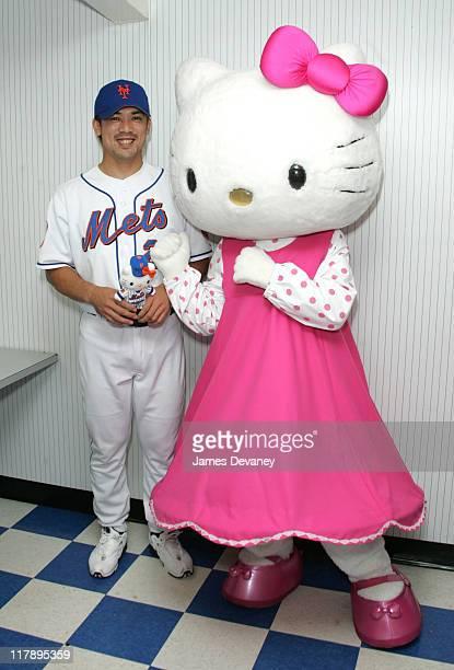Hello Kitty and NY Mets Kaz Matsui during Hello Kitty Celebrates 30th Anniversary at NY Mets' Shea Stadium on Hello Kitty Day at Shea Stadium in...