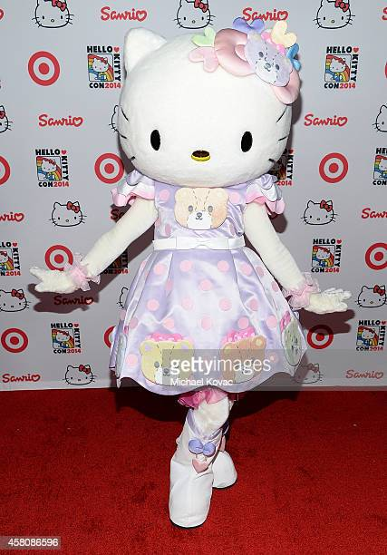 Hello Kitty arrives at the Hello Kitty Con 2014 Opening Night Party on October 29 2014 in Los Angeles California