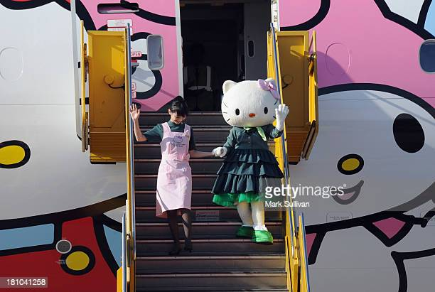 Hello Kitty departs the EVA Boeing 777300ER Hello Kitty Jet after arriving at LAX Airport on September 18 2013 in Los Angeles California