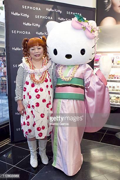 Hello Kitty designer Yuko Yamaguchi poses with Hello Kitty at the Sephora Hello Kitty Beauty Event held at the Ala Moana Shopping Center Thursday...