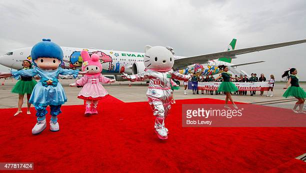 Hello Kitty performs with My Melody and LIttle Twin Stars during the EVA Air Hello Kitty Shining Star Jet Inaugural Event at George Bush...