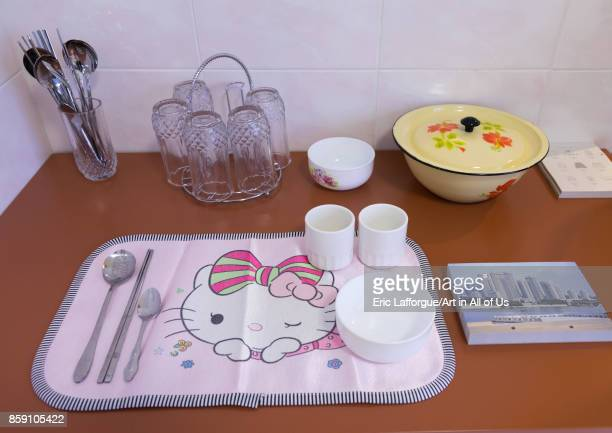 Hello Kitty table set during the exhibition Pyongyang sallim at architecture biennale showing a north Korean apartment replica National Capital Area...