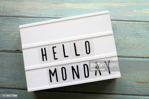 """""""hello monday"""" message in light box - monday stock pictures, royalty-free photos & images"""