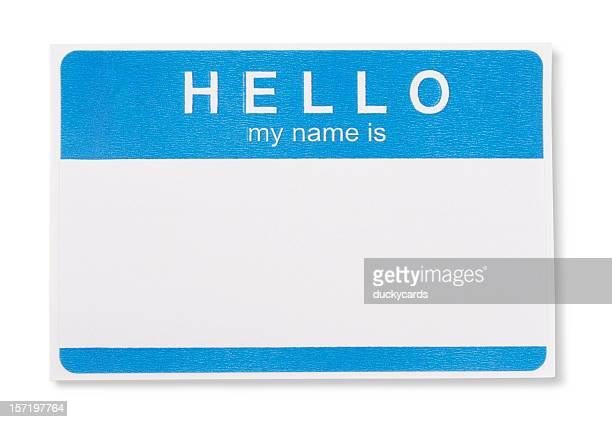 hello my name is tag badge with clipping paths - name tag stock photos and pictures