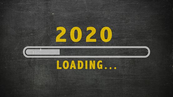 Hello new year 2020 loading blackboard background 1186329903
